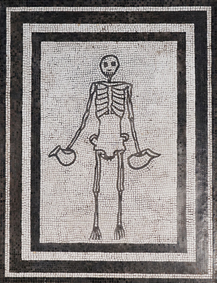 Mosaic of skeleton carrying wine jugs, Naples Museum inv. 9978, from Pompeii